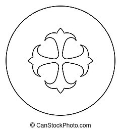Symbol field lily kreen strong Cross monogram dokonstantinovsky Symbol of the Apostle anchor Hope sign Religious cross icon in circle round outline black color vector illustration flat style simple image