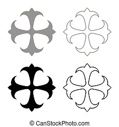 Symbol field lily kreen strong Cross monogram dokonstantinovsky Symbol of the Apostle anchor Hope sign Religious cross icon set black color vector illustration flat style simple image