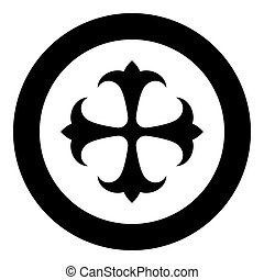 Symbol field lily kreen strong Cross monogram dokonstantinovsky Symbol of the Apostle anchor Hope sign Religious cross icon in circle round black color vector illustration flat style simple image