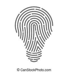 Symbol fingerprint as light bulbs