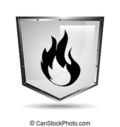 symbol fire icon shield steel design