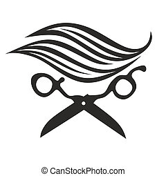 hair - symbol for a hairdresser with scissors and hair
