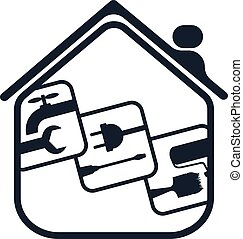 Symbol for home renovation - Symbol for the repair of houses...