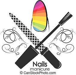 Symbol for manicure with a pattern - Symbol for manicure...
