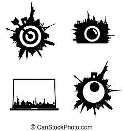 symbol for travel set in black color illustration