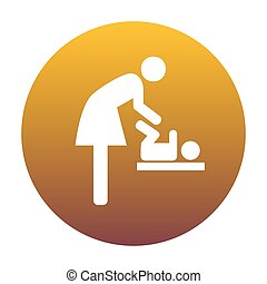 Symbol for women and baby, baby changing. White icon in circle w