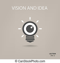 symbol, geschaeftswelt, ikone, vision, ideen, zeichen, glühlampe, auge