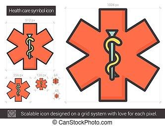 symbol, gesundheit, linie, icon., sorgfalt