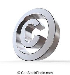 symbol, glänzend, copyright
