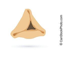 symbol, glücklich, purim., hamantaschen, feiertag, jüdisch, schmackhaft