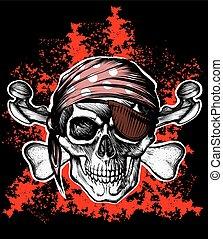 symbol, glad uppfattat, knotor, korsat, sjörövare