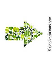 symbol, grön, pil, ikonen