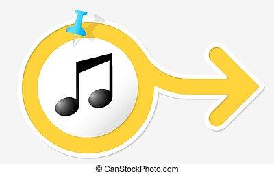 symbol, gul, musik, pil, hvid, ramme