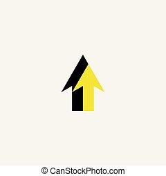 symbol, gul underskriv, vektor, sort pil, logo