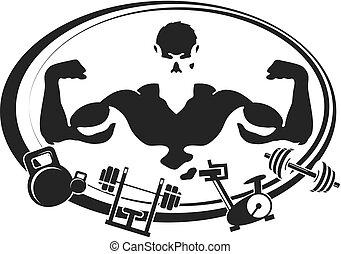 symbol, gymnastiksal, duelighed