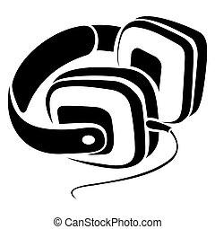 symbol, hörlurar