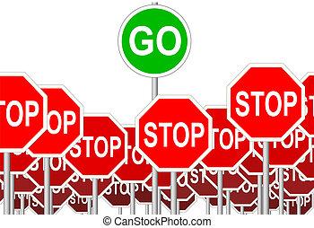 symbol, halt, freigestellt, zeichen, zeichen & schilder, gehen, fortschritt