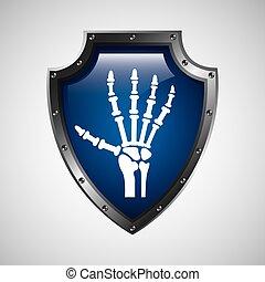 symbol, hand, medizinische röntgenaufnahme, ikone