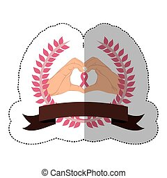 symbol hand shape heart with breast cancer ribbon
