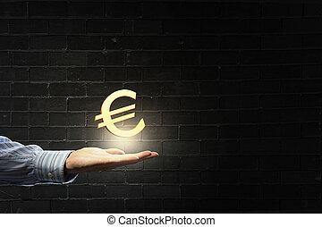 symbol, handfläche, euro