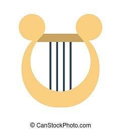 symbol, harpe, instrument, musik, icon., antik, eller, lyre