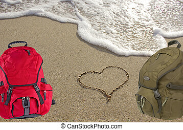 Symbol heart on the beach