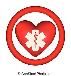 symbol heart with star medicine sign inside
