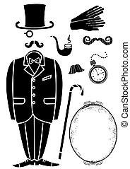 symbol, herr, freigestellt, accessories.vector, schwarz, retro, klage, design