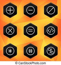 Symbol. Hexagonal icons set on abstract orange background