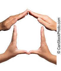 symbol, hjem, gestured, hos, hænder