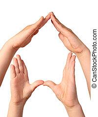 symbol, hjem stillede, af, hænder