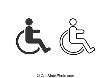 symbol, hjul stol, handikappad, vector., sätta, fodra, ikon