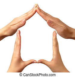 Symbol home - Female hands showing home sign family house...