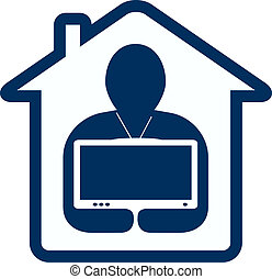 symbol home tv with man silhouette