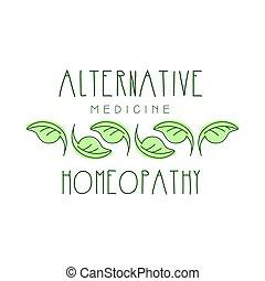 symbol, homeopathi, illustration, vektor, medicin, logo, alternativ