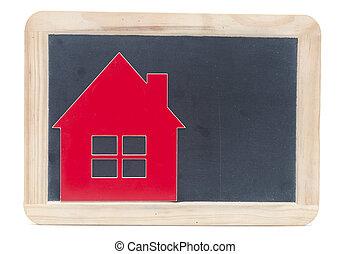 symbol house on blackboard
