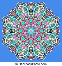 symbol, hymne, indisk, ornamental, cirkel, mandala, lotus, flyde