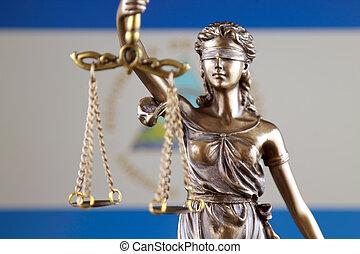symbol, i, lov, og, retfærdighed, hos, nicaragua, flag., lukke, oppe.