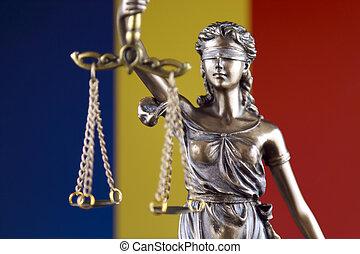 symbol, i, lov, og, retfærdighed, hos, romania, flag., lukke, oppe.