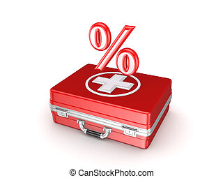symbol, i, procenter, på, en, medicinsk, suitcase.