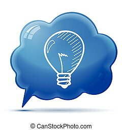 symbol idea on blue bubble background, hand-drawn lightbulb