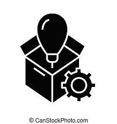 symbol, ikona, boks, poza, wektor, ilustracja, czarnoskóry, płaski, glyph, pojęcie, poznaczcie., myśleć
