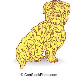 symbol, jahr, gelber , hintergrund., karikatur, hund, weißes