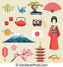 Symbol, Japonsko, dát, Ikona