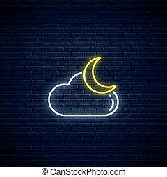 symbol, jarzący się, app, pochmurny, pogoda, icon., styl, prognoza, ruchomy, księżyc, chmura, neon