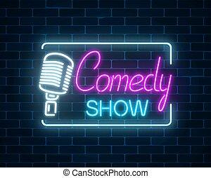 symbol, jarzący się, tło., humor, znak, signboard., ściana, mikrofon, retro, cegła, pokaz, neon, komedia