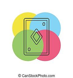 symbol, kasino, -, abbildung, spielen karte
