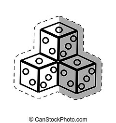 symbol, kasinospiel, dünne linie, würfelt