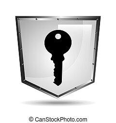 symbol key safety shield steel icon