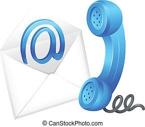 symbol, kontakta, email